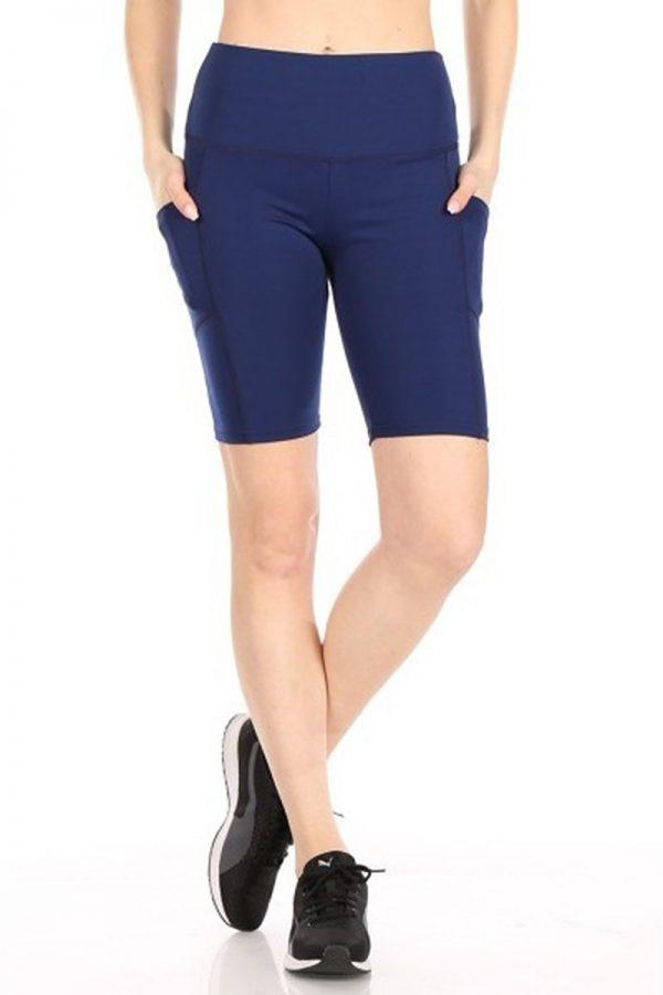 Solid Navy Print Biker Shorts 2