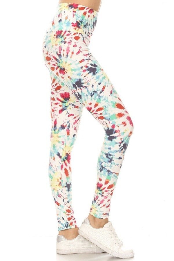 Yoga Band Multi Color Tie Dye Print Leggings 1
