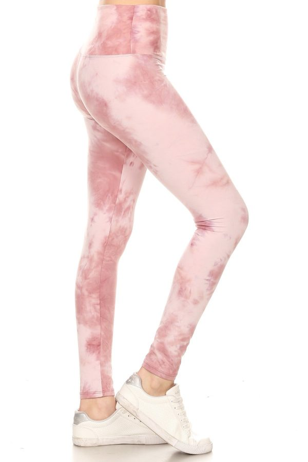 Yoga Band Banded Lined Tie Dye Printed Legging 1