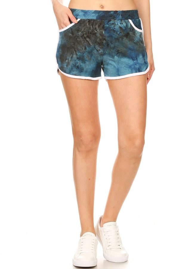 Blue and Black Tie Dye Printed Shorts 1