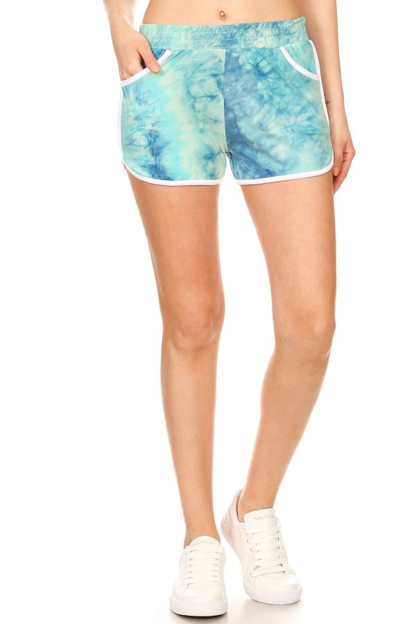 Blue and White Tie Dye Printed Shorts 3