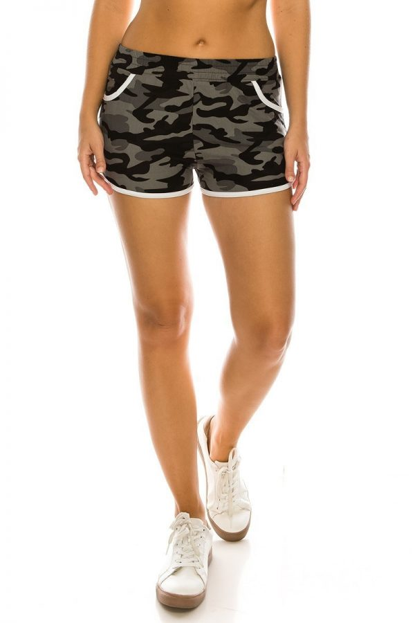 Grey Camouflage Print Shorts with Pockets 1