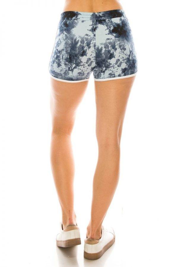 Grey Tie Dye Print Shorts with Pockets 3