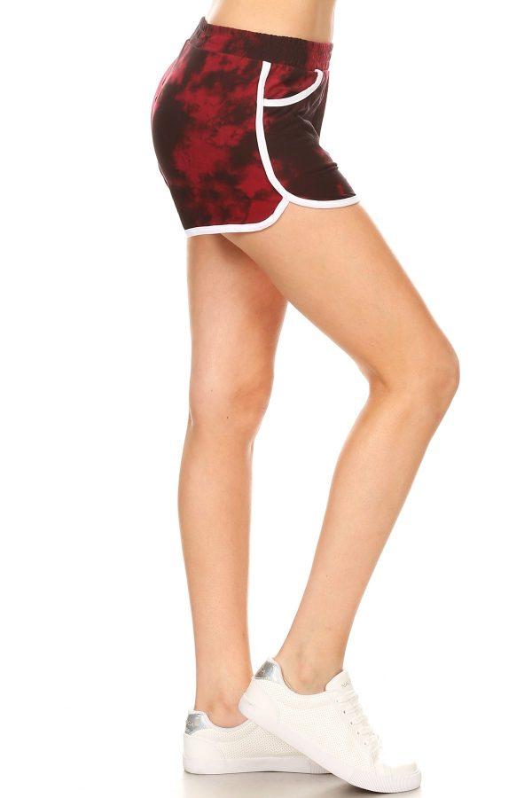 Red Tie Dye Printed Shorts 2