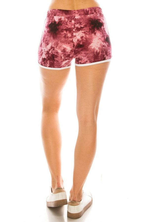 Maroon Tie Dye Printed Shorts with Pockets 3