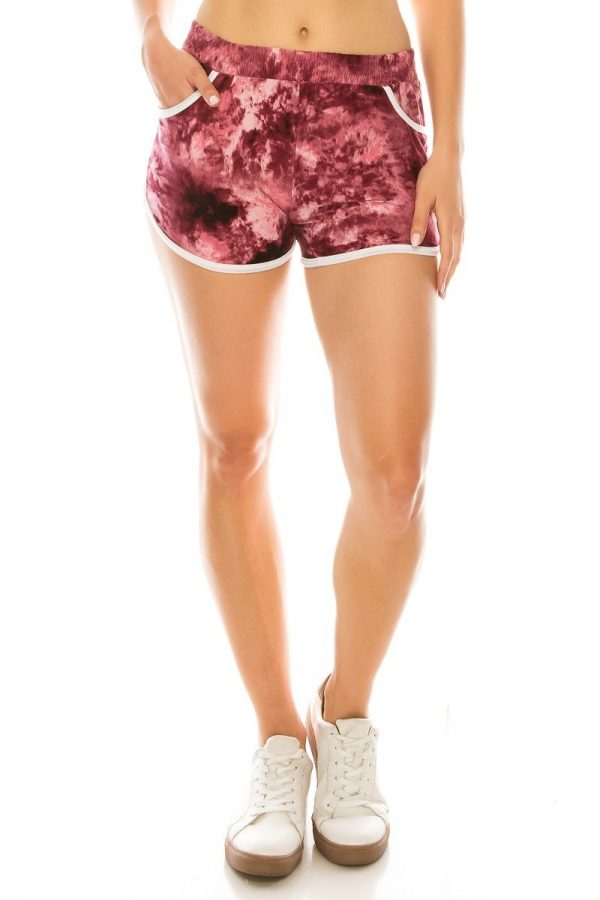 Maroon Tie Dye Printed Shorts with Pockets 1