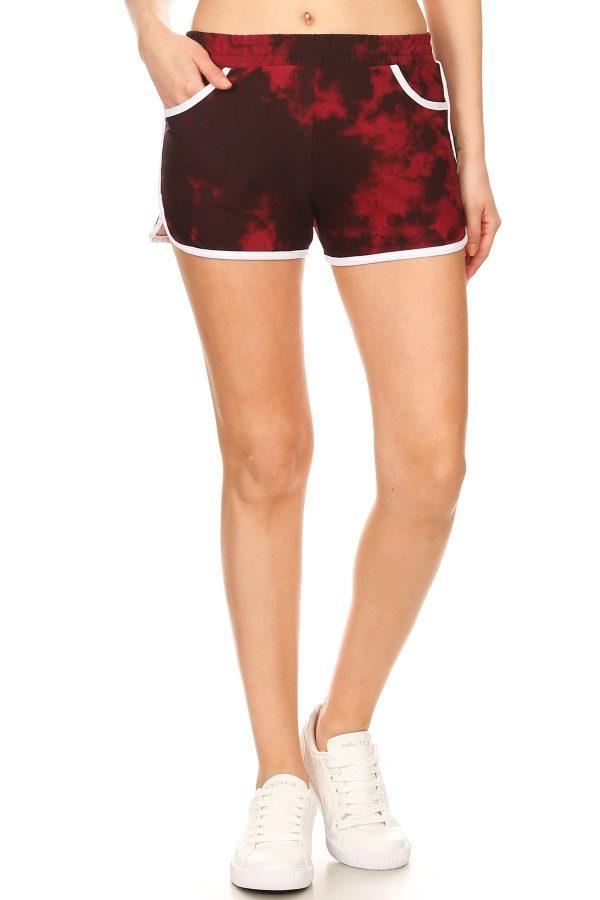Red Tie Dye Printed Shorts 3