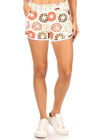 Donuts Printed Shorts with Pockets