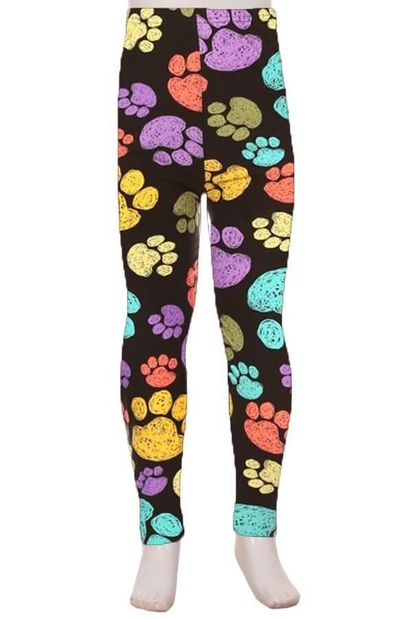 Multicolor Paws Print Kids Leggings 1