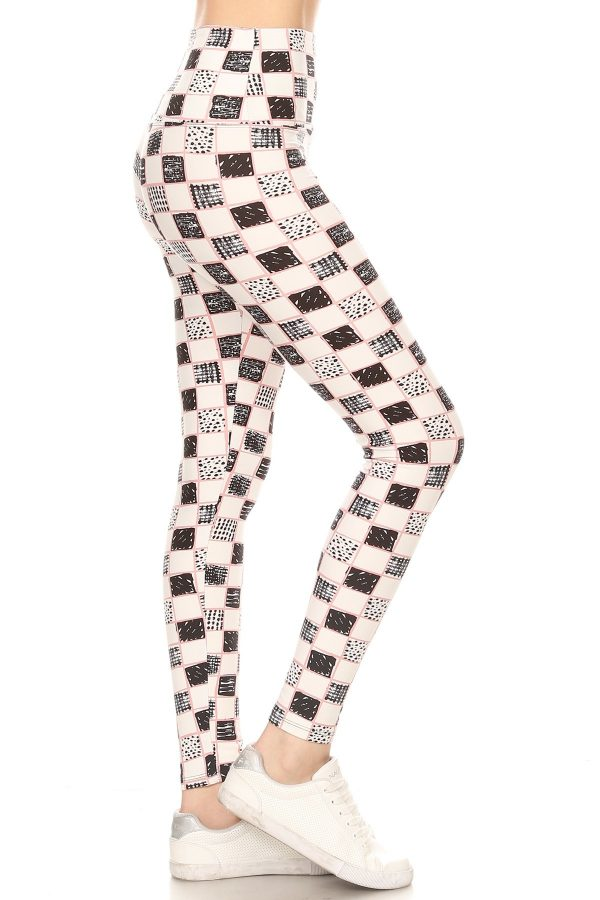 Yoga Band  Lined Checkered Print Leggings 1